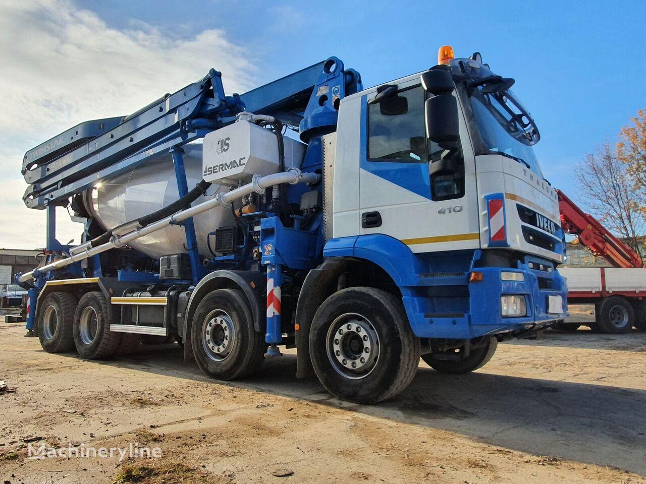 Sermac 28m uz šasijas IVECO Trakker 410 8x4 Euro 5, Sermac 28m+9m3 mixer-pump betona sūknis