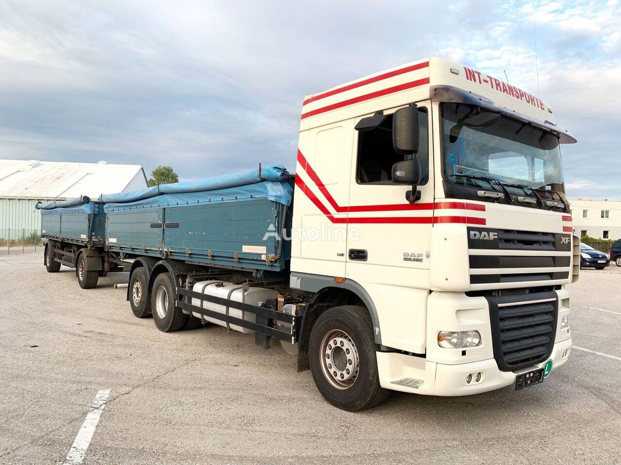 DAF XF105.460 3-Seiten GETREIDEKIPPER + 2 Achs Kipp-Anhänger kravas automašīna graudu pārvadāšanai + graudu pārvadāšanai piekabe