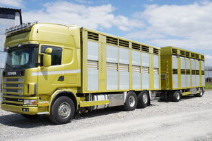 SCANIA R164 V8 , 6x2 , 2 hydraulic decks , 70m2 , live stock  lopu vedējs + lopu pārvadāšana piekabe
